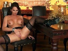 Slutty Kismet Dixon enjoys posing the brush shaved
