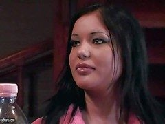 Attractive black haired stunners Angelica Heart together with Antony with hot