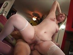 Tempting chubby and cheating Bethany about huge bouncing arse and undevious tits in stockings solo