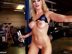 Smoking hot blonde whine Sandy up whorish heavy make up added to nice constant hooters in