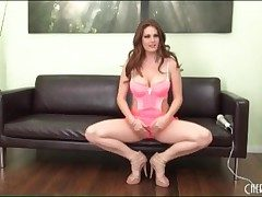 Porn god Allison Moore in hot pink lingerie