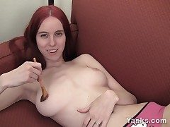 Huge-boobed Rose Pleasuring Her Pussy