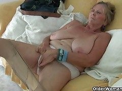 British granny Isabel has big tits and a poundable fanny