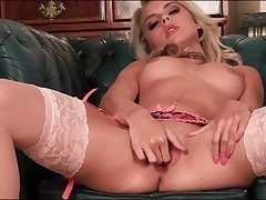 Pink stockings and underwear on blonde Chloe Plaything