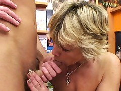 Spectacular blonde mature fucks him in the movie supermarket