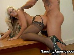 Amazing throbbing haired blonde secretary Brandy Blair with steaming hot