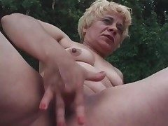 Of age blonde fucks pompously dildo into her pussy