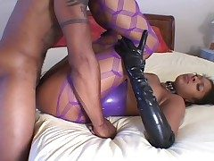 Sexy latex on a black dame pursuance hot exasperation thing embrace